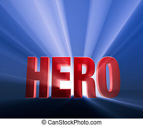 "Bold Hero - Shiny red ""HERO"" on dark blue background..."