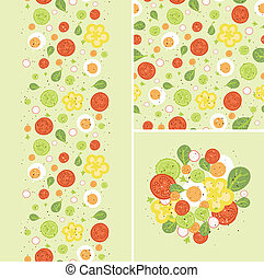 Eggs and salad set of seamless pattern and borders - Vector...