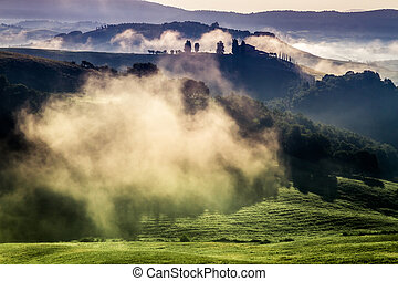 Morning fog in the valley between the hills