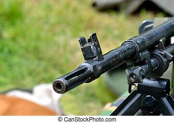 Machine gun barrel close up