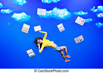 dizzy situation - Happy girl student is flying in the sky...