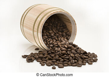 Coffee bean out of oak drum on white background