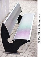 stainless steel bench - Stainless steel bench in the park