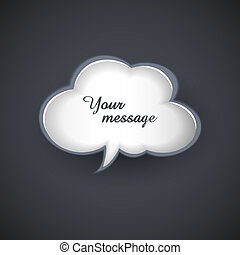 vector cloud template for text message - cloud template for...