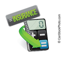 insurance or risk concept with calculator showing financial...