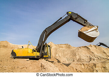 Yellow Excavator at Construction Site