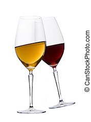 Glasses of red and white wine - Two glasses of red and white...