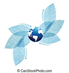 Bright background with blue leaves and globe