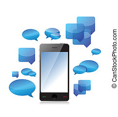a cellphone chat concept illustration