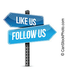 like us and follow us street sign illustrati