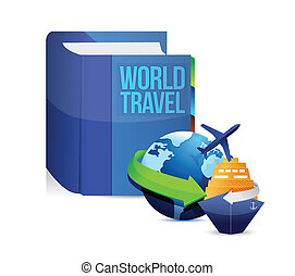 book with a world travel concept title illustration design...