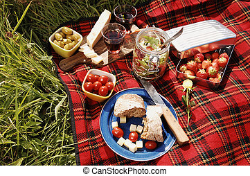 picnic serie - picnic with diffferent sorts of snacks on a...