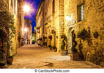 Ancient town of Pienza in Italy at night