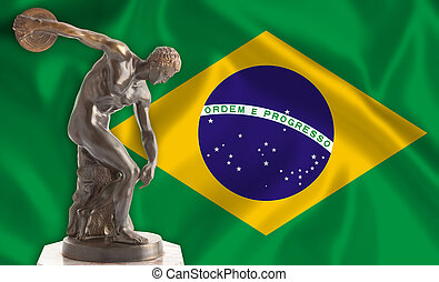 Discus thrower on Brazilian flag