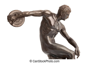 Discus thrower on white background