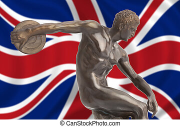 Discus thrower on english flag