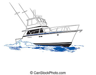 Sport Fishing Boat - Hard running sport fishing boat rigged...