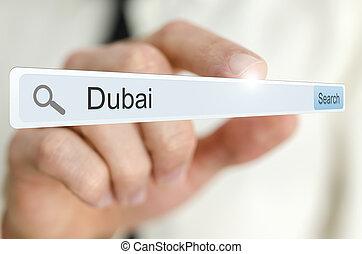 Word Dubai written in search bar