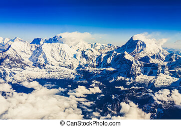 Himalaya Everest range view from mountain flight with Mt...