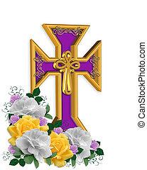 Páscoa, crucifixos, flores, fundo