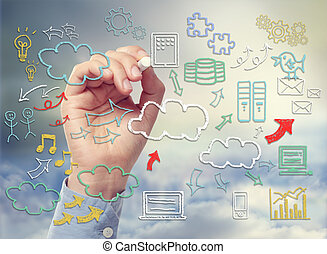 Cloud Computing Theme with icons hand drawn with chalk