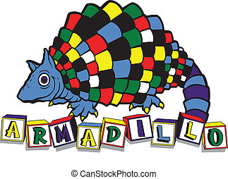 ABC Armadillo - Toddler type design of colorful armadillo...