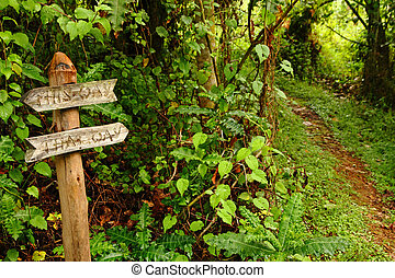 Funny Garden Pathway Sign Pointing Down a Path - A funny...
