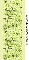Vector paint textured green plants vertical seamless pattern...
