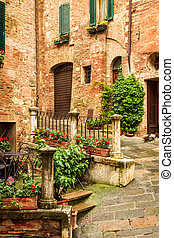 Vintage porch on the street in Italy