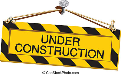 Vector sign under construction on white background