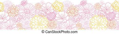 Wedding bouquet flowers horizontal seamless pattern border -...