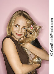 Woman with Yorkshire Terrier dog.