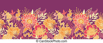 Fall flowers and leaves horizontal seamless pattern border -...