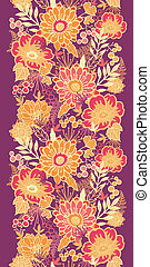 Fall flowers and leaves vertical seamless pattern border -...