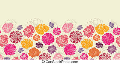 Colorful abstract flowers horizontal seamless pattern border