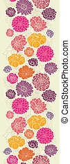 Colorful abstract flowers vertical seamless pattern border