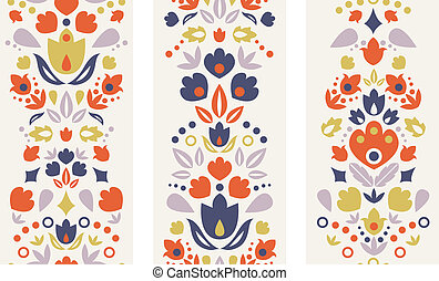 Three ornamental folk tulips vertical seamless patterns -...