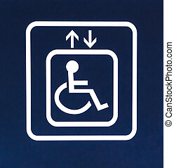 White Handicap Elevator Sign on Blue Background, Closeup