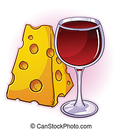 Wine and Cheese Cartoon - An illustrated large chunk of...