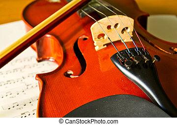 nota, violino, música