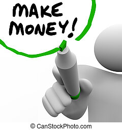 Make Money Man Writing Words Teaching Success to Get Rich -...