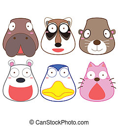 cartoon animal head set, vector