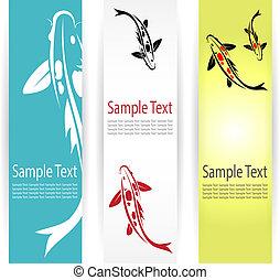 carp koi banners  - Vector image of an carp koi banners .