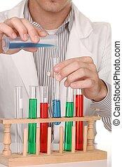 Caucasian Scientist At Work Using the Scientific Method -...