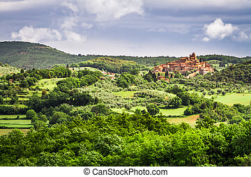 Small town on a hill in Tuscany