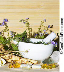 Natural herbal remedies and supplements - Still life...