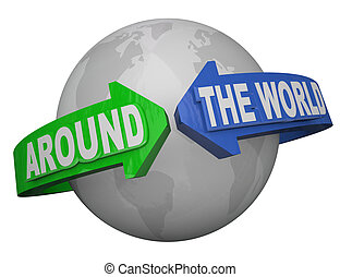 Around the World Outreach Words Arrows Surround Earth - The...