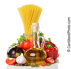 Vegetables, pasta and olive oil