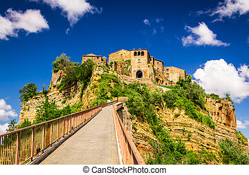View of the city Bagnoregio on the hill, Tuscany