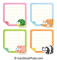 cute animal note papers collection, illustration vector.